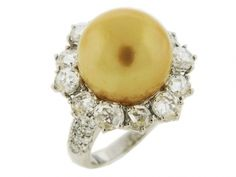 South Sea Pearl Rose Cut Diamond 18k Gold Celebrity Style Ring