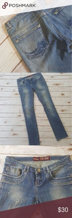"LTB denim jeans size 27 Distressed LTB denim jeans. Australia. 1948. Made in Turkey. 100% LTB. Waist 27"", length 32"". 98% pamuk cotton, 2% elastane spandex. Medium waist. Tapered leg. Smoke-free pet-free. In excellent preowned condition. Jeans"
