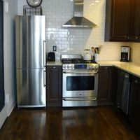 blomberg fridge in a small kitchen
