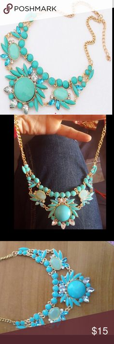 Turquoise Aqua  Summer statement Necklace Very beautifully designed rich statement necklace Maheroo Jewelry Necklaces