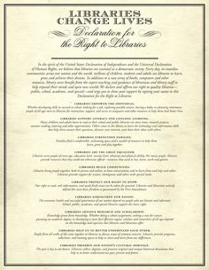 Declaration for the Right to Libraries | Advocacy, Legislation & Issues... pass it on!  Sign today!