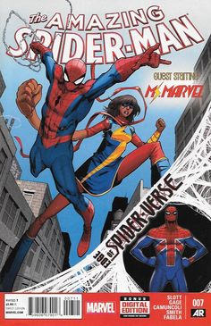 Edge of Spider-Verse Tie-In ,Edge of Spider-Verse: Part 7 , Written by Dan Slott , Art and Cover by Giuseppe Camuncoli , Spidey teams up with Ms. Marvel in a high-flying (stepping in Kamala's case) ad