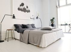 gorgeous print! white+grey+pink bedroom