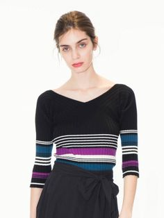Vネックリブトップス(トップス/ニット)の詳細画像 Autumn Winter Fashion, Fall Winter, Print Patterns, Knitwear, Spring Summer, Stitch, Knitting, Womens Fashion, Sweaters