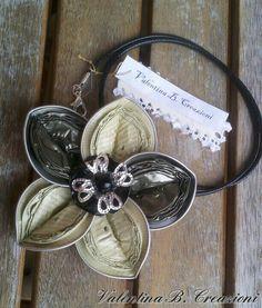 green and silver Nespresso flower by Valentina B. Creazioni