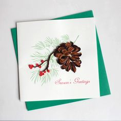Pinecone HD628 6 x 6 by QuillingCard on Etsy