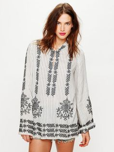 Free People Stripe Hooded Embroidered Tunic, wear mine all the time