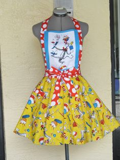Sale  The Cat in the Hat Apron  Birthday Party by AquamarCouture, $45.99