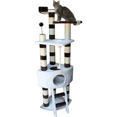 This Kitty Mansions cat tree has everything your cat would want. Three platforms to sit on, six scratching posts to claw on, two punching bags to take a swipe at, a condo on the middle floor and a bed on the top floor.
