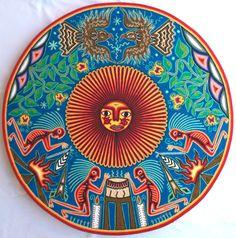 23.5 Round Mexican Huichol Sun and Kieri yarn painting by Aramara
