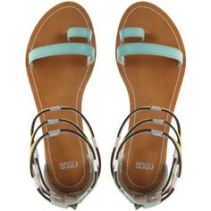 Asos Fizz Leather Flat Sandals With Multi Ankle Straps