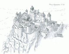 Burg Regenstein Fantasy Castle, Fantasy Map, Medieval Fantasy, Architecture Drawing Plan, Historical Architecture, Modern Architecture, Medieval Town, Medieval Castle, Castle Drawing
