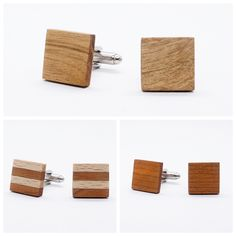 These cufflinks are handcrafted and made of light colours wood like Cherry, Oak. The perfect present for someone's birthday or a gift for a groomsman, also an ideal gift for Father's day and of course a wonderful gift for your self. Wood Gift Box, Wood Gifts, Gifts For Father, Gifts For Him, Unique Gifts For Men, Vintage Cufflinks, Chandelier Earrings, Groomsmen, Different Colors