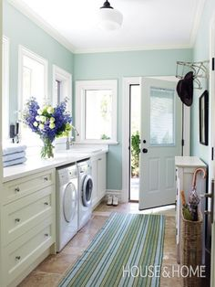 aqua and white laundry room