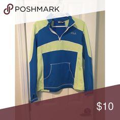 3/4 Zip Up Green and blue 3/4 zip athletic sweatshirt Fila Jackets & Coats