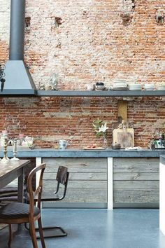 43 Wonderful Industrial Kitchen Shelf Design Ideas To Organize Your Kitchen Brick Wall Kitchen, Loft Kitchen, Concrete Kitchen, Exposed Brick Kitchen, Kitchen Racks, Kitchen Cupboards, Industrial Chic Kitchen, Rustic Kitchen, Industrial Style