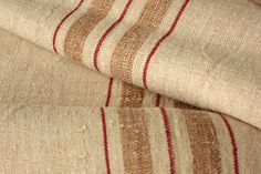 Vintage grain sack fabric ~ Lovely homespun with rare stripe! Lovely for beach house interiors, french country etc ~ www.textiletrunk.com