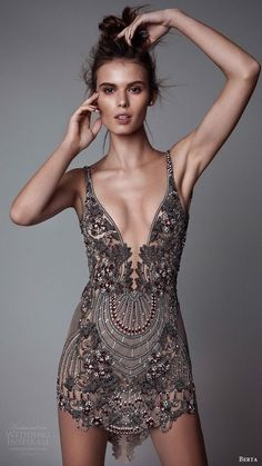 berta rtw fall 2017 sleeveless v neck mini dress embellished mv dinner outfit Berta Fall 2017 Ready-to-Wear Collection Look Fashion, Runway Fashion, High Fashion, Fashion Design, Ladies Fashion, Fashion Clothes, Luxury Fashion, Pretty Dresses, Beautiful Dresses