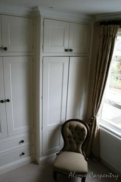 Fitted bedroom wardrobes are great solution to save space and make harmony in your bedroom design. Alcove Wardrobe, Bedroom Alcove, Bedroom Wardrobe, Built In Wardrobe, Bedroom Storage, Home Decor Bedroom, Fitted Bedroom Furniture, Fitted Bedrooms, Alcove Storage