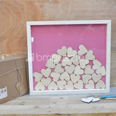 Wedding guest book Drop Box for with hearts in pink background,Alternative guest Book,Shadow Frame,D Shadow Frame, Shadow Box, Guest Book Alternatives, Cardboard Crafts, Craft Box, Wooden Hearts, Special Guest, Wedding Guest Book, Make It Yourself