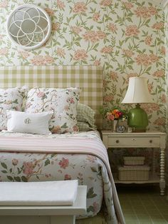 We love all the pattern-mixing in this feminine bedroom: http://www.bhg.com/rooms/bedroom/headboard/pretty-headboard-decorating-ideas/?socsrc=bhgpin072614headboardpatternplay&page=14