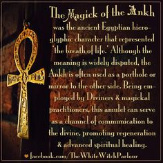 magick, ankh, egyptian, amulet, talisman, protection, divination, occult, metaphysical, divine, deities, goddess, god, meaning, spirit world, witch, witchcraft, spiritual, life after death https://www.facebook.com/TheWhiteWitchParlour                                                                                                                                                      More