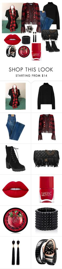 """Red/Black scarf"" by bamasbabes ❤ liked on Polyvore featuring Burberry, Levi's, Balmain, Chanel, Lime Crime, Nails Inc., Valentino, Mignonne Gavigan, Bulgari and Talbots"