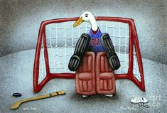 puck duck... by Will Bullas Painting  - puck duck... by Will Bullas Fine Art Print