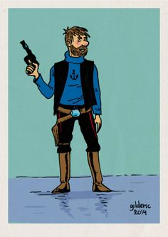 Captain Haddock as Han Solo // incredible Bd Comics, Funny Comics, Haddock Tintin, Tin Tin Cartoon, Captain Haddock, Herge Tintin, Lucky Luke, Movie Characters, Fictional Characters