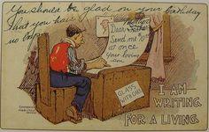 1906 Vintage Funny Kitsch Illustrated Postcard Writer Cartoon Illustration 1900s Humor by Christian Montone, via Flickr