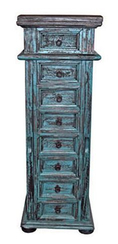 Rustic Turquoise Scraped Mansion Lingerie Chest with Jewelry Box