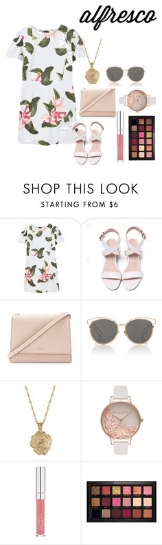 """""""Long Days"""" by justmehanan on Polyvore featuring MANGO, Kate Spade, Christian Dior, 2028, Olivia Burton, Solow, Huda Beauty and alfrescodining"""
