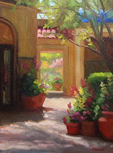 "Sunlit Courtyard by Sherri Aldawood Oil ~ 16"" x 12"""