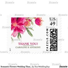 """Romantic Flowers Wedding Thank You Postage Stamps Romantic Watercolor Flower Painting Design Wedding """"Thank You"""" Postage Stamps. Matching Bridal Shower Invitations, Wedding Invitation Cards, Wedding Postage Stamps, Wedding Save the Date Announcements, Bridesmaid to be Request Cards, Thank You Cards , RSVP Cards and other Wedding Stationery and Wedding Gifts and Favors available in the Floral Design Category of our Store."""