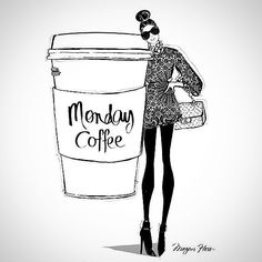Mood ☕☕☕ #tinaandjo #madeinla #fashion #womenswear #mondays #rainyday #thereisnotenoughcoffee #extrastrongplease #caffeinefix  #instadaily #meganhess #illustration
