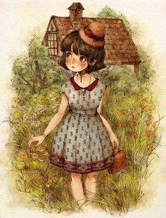 오래된 저택이 있는 정원의 무성한 풀꽃길.  홀로 탐험하듯 떠나는 어느 여름, 소녀의 산책길.  The flower way in the garden of an old mansion encouraged me to explore alone on a summer day.