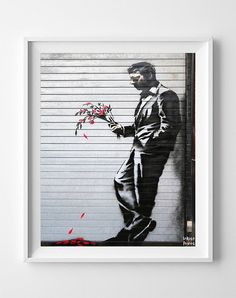 Banksy Print, Waiting in Vain, Street Graffiti Art, Urban Artist, Stencil Art, Street Art, Wall Decor, Modern Art, Fathers Day Gift