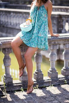 Green paisley sixties dress with mint bag - Bold Bliss