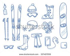 Icon set of ski & winter sports equipment: ski and ski sticks, hat helmet, gloves, shoes, scarf, smart phone. Hand drawn vector illustration - stock vector