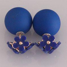 12Pairs/lot Fashion Earrings Luxury 2016 Temperament Daisy Hollow Flowers Rubber Bead Double Stud Earrings Jewelry For women