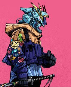Gundam Wallpapers, Animes Wallpapers, Samurai Wallpaper, Dope Cartoon Art, Arte Cyberpunk, Cyberpunk Character, Gundam Art, Samurai Art, Fanart
