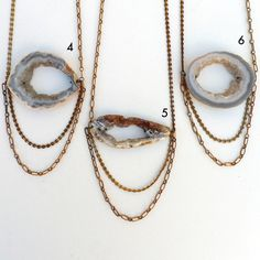 long layered geode necklace with vintage chains