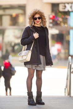Name: Julia Hebrard  Gig: Costume Designer  Hood: Nob Hill  What She's Wearing: G.H. Bass & Co. coat, H&M top, Brim Barcelona bag, glasses from Haight Ashbury, and self-made skirt.