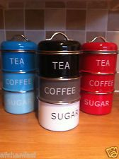 Vintage Retro Stacking Tea Coffee Sugar Canister Kitchen Storage Stackable Tins