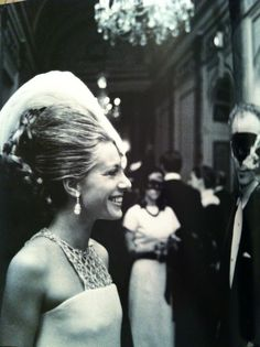 Princess Luciana Pignatelli borrowed a diamond from harry Winston to wear on her forehead instead of a mask to Truman Capote's Black and White Ball, 1966.  She was trailed by guards!