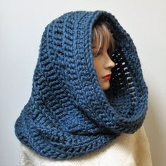 Denim Blue Oversized Cowl, Winter Infinity Scarf,Winter Womans Scarves,Crochet Scarves,Womans Knit Scarf,Fall Crochet Scarf, Victoria B6-064 by CeciliaAnnDesigns on Etsy