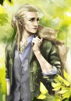 Modern AU Legolas (Beautiful, but I don't know the artist).