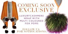 Exclusive to Facebook ONLY  Limited edition burnt umber orange tone cashmere wrap with luxury oversized multi coloured large poms. LIMITED EDITION ONLY. To pre order yours email heidi.dodkins@ubigroup.org x  please note this product is NOT online. Pre order your garment by emailing the address above