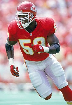 In a vote by SportsNation, linebacker Derrick Thomas was selected best Chief ever. He was the league's defensive rookie of the year in 1989 and made nine Pro Bowls before his tragic death. Kansas City Chiefs Football, Nfl Football Teams, Football And Basketball, American Football League, National Football League, Derrick Thomas, Football Fever, Nfl History, Sport Of Kings