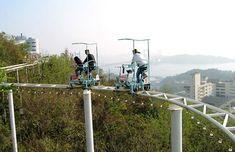 The Skycycle at Washuzan Highland Park in Okayama, Japan, a pedal-powered roller coaster.